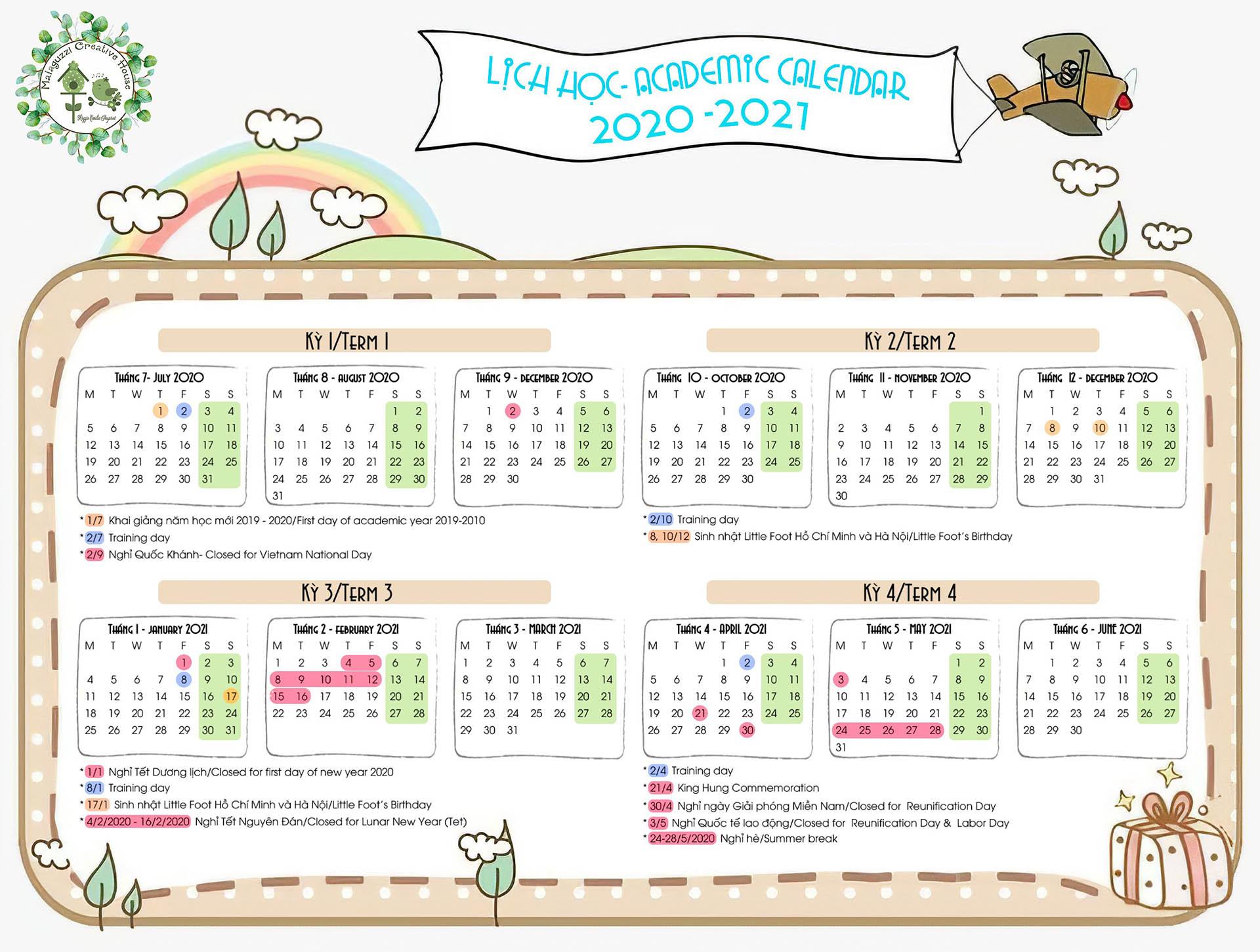 little foot kindergarten lịch năm học